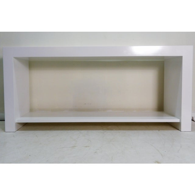20th Century Modern White Console Table With Lower Shelf For Sale - Image 4 of 4