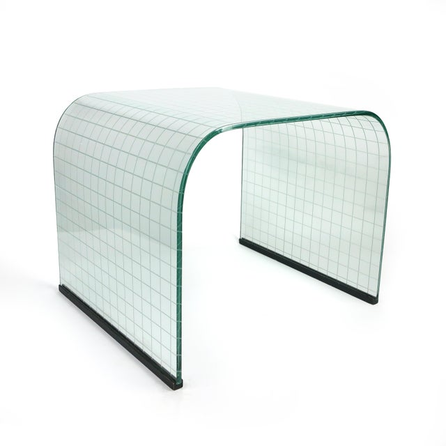 Etched Glass Waterfall Table by Angelo Cortesi for Fiam For Sale - Image 9 of 9