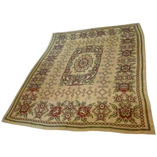 Antique Vintage European Throw Tapestry Bedspread Rug For Sale
