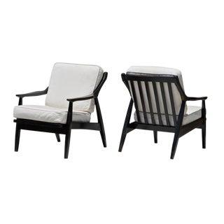 Danish Modern Ebonized Lounge Chairs, a Pair