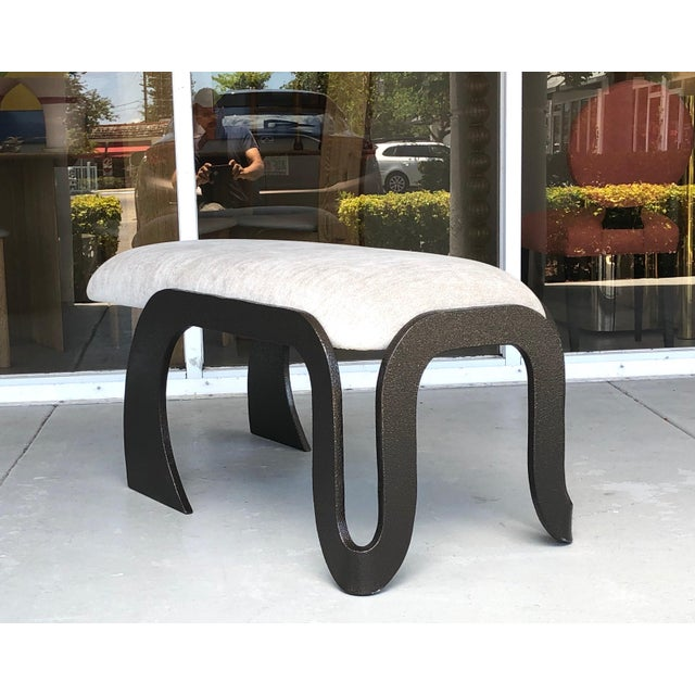 Metal Pair of Abstract Modern Heavy Bronze Enamel Benches Ottomans, 1980s For Sale - Image 7 of 13