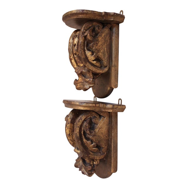 Antique Carved Wood Wall Brackets/Shelves - Pair For Sale