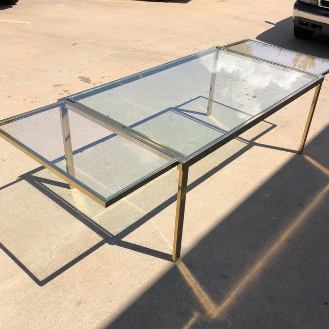 Pierre Cardin Style Folding Brass Glass Dining Table For Sale - Image 12 of 13