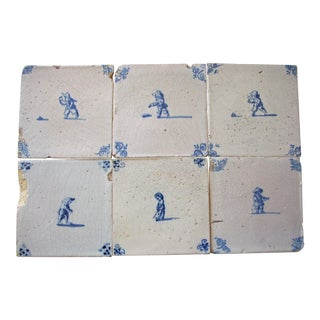 Antique Delft Tiles With Children Playing - Set of 6 For Sale