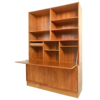 Mid-Century Modern Danish Teak Drop-Front Secretary Bookcase For Sale