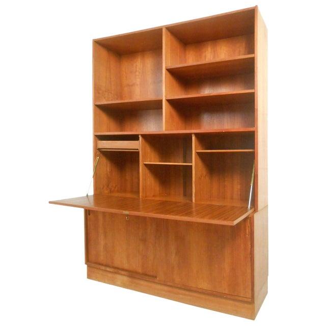 mid century modern danish teak drop front secretary bookcase chairish. Black Bedroom Furniture Sets. Home Design Ideas