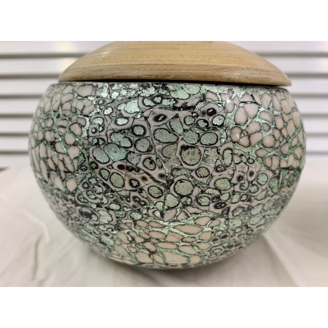 Asian Silver/Green Eggshell & Bamboo Lacquered Covered Boxes - a Pair For Sale - Image 3 of 10