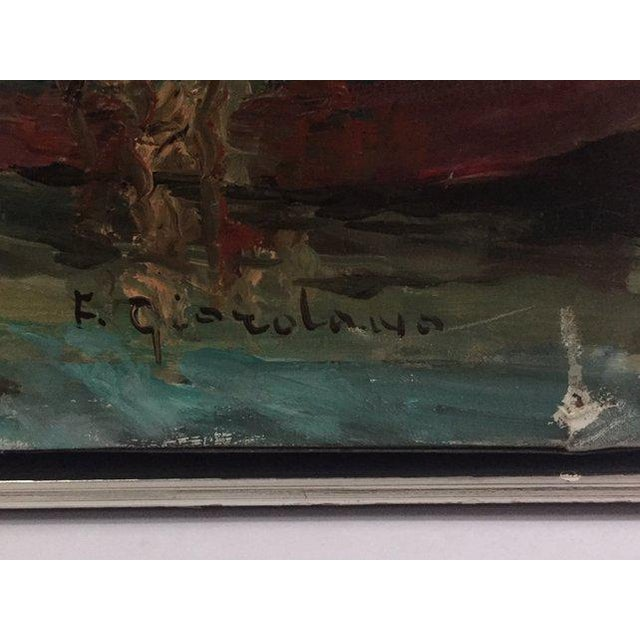 1960s Vintage Boats at Sea Amalfi Coast Oil on Canvas Painting For Sale In Richmond - Image 6 of 11