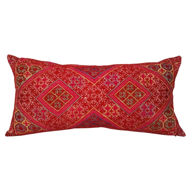 Hand-Embroidered Silk Lumbar Pillow - Image 1 of 6