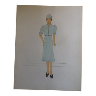 Original Vintage Female Art Deco 1930's Fashion Illustration Painting For Sale