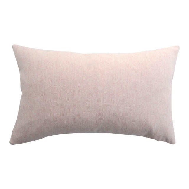 FirmaMenta Italian Soft Virgin Wool Pink and White Lumbar Pillow For Sale