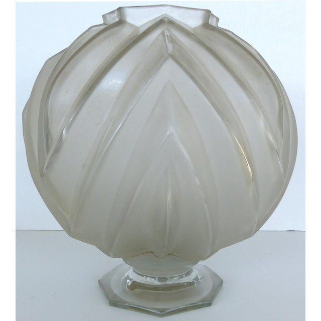 Transparent French Art Deco Sabino Art Glass Vase For Sale - Image 8 of 8