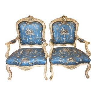 Antique 19th C Italian Baroque Arm Chairs - a Pair