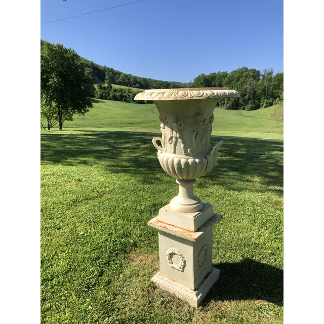 French Provincial Cast Iron Greek Revival Garden Estate Urns on Pedestals - a Pair For Sale - Image 3 of 10