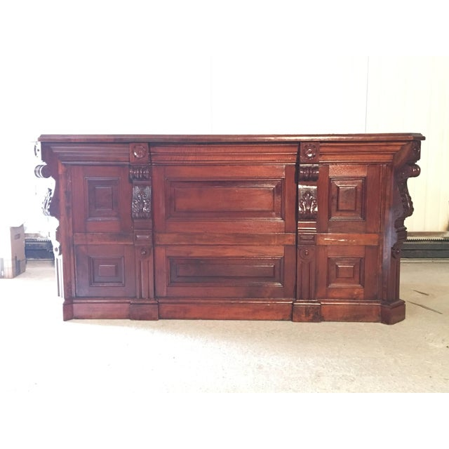 19th century Victorian mahogany palm impressionist pedestal desk. Measure Gap Between drawers: 24.5in