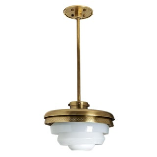 r.w. Atlas Ceiling Mounted Pendant With Glass Shades in Unlacquered Brass For Sale