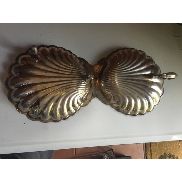 Art Deco Vintage Sheffield Co. Lidded Clam Shell Serving Dish Ornate Handle and Legs For Sale - Image 3 of 7