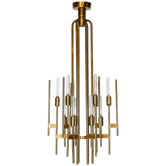 Mid Century Modern Brass 12-Lights Chandelier by Gaetano Sciolari, 1960s For Sale In Dallas - Image 6 of 6