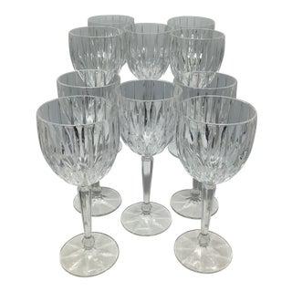 Vintage Mikasa Cut Crystal Lexington Avenue Ball Stem Wine Glasses - Set of 10 For Sale