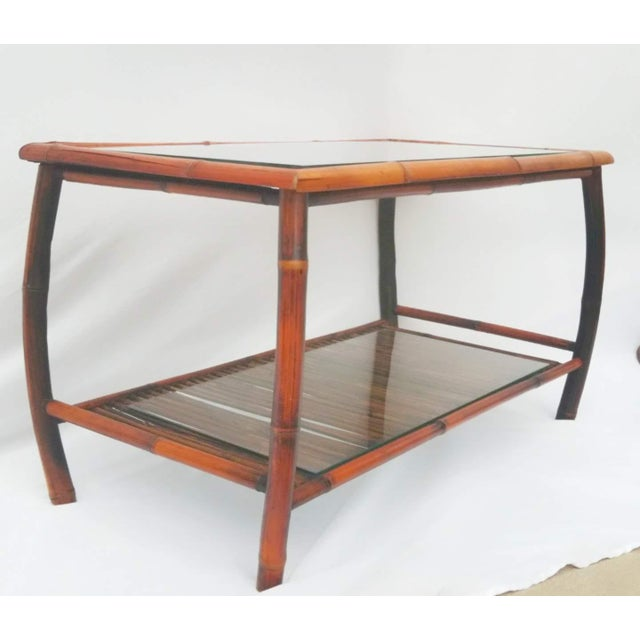 1960s Hollywood Regency Bamboo and Rattan Coffee Table For Sale - Image 5 of 8