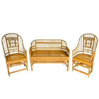 Thomasville Chinoiserie Brighton Bamboo Settee & Armchairs - Set of 3 For Sale