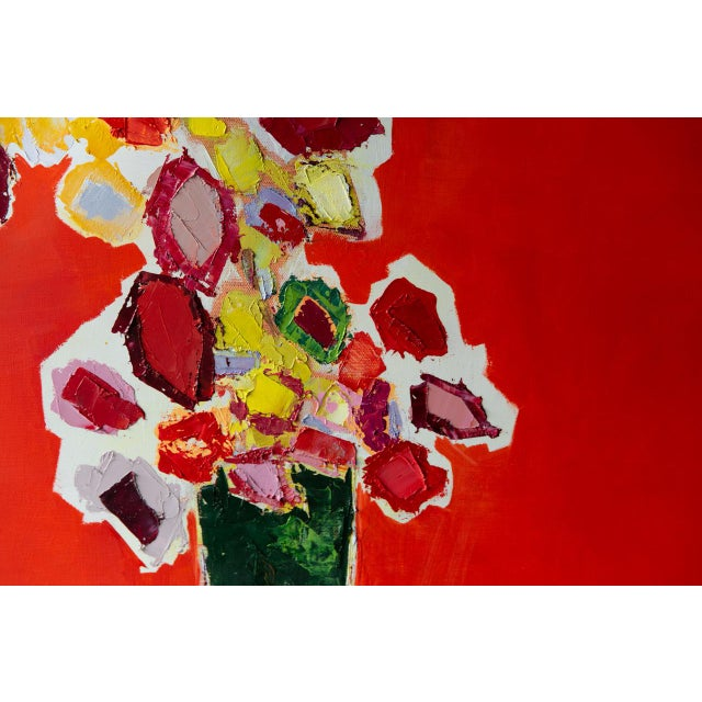 """Abstract Bill Tansey """"Tall Green Vase"""" Abstract Floral Oil Painting on Canvas For Sale - Image 3 of 7"""