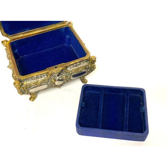 French Silvered Bronze and Ormolu Jewelry/Table Box For Sale - Image 3 of 12