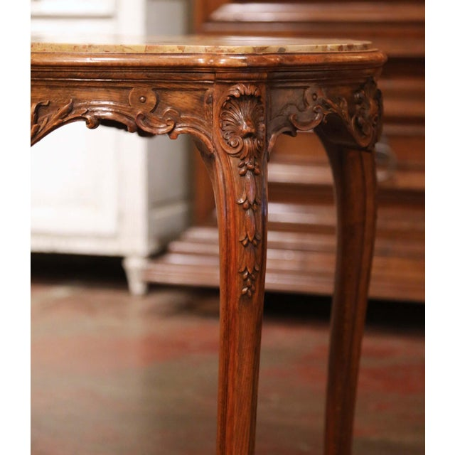 Wood 19th Century French Louis XV Carved Oak Side Table With Beige Marble Top For Sale - Image 7 of 13