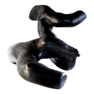 Quercus Forma Shou Sugi Ban Black Undulating Wood Sculpture For Sale