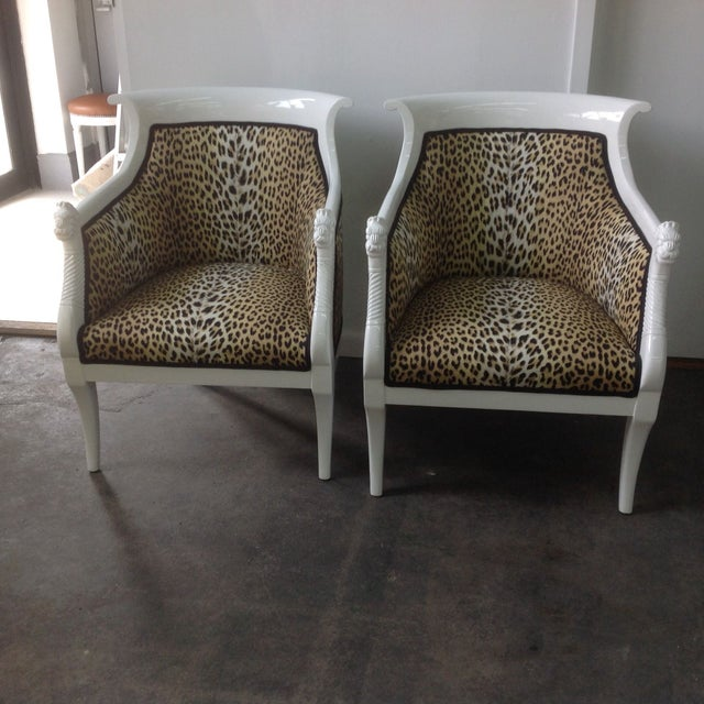 Hello, Me-ow! This fabulous pair of white lacquered italian chairs are covered in Leopard fabric by Boussac. The seat...