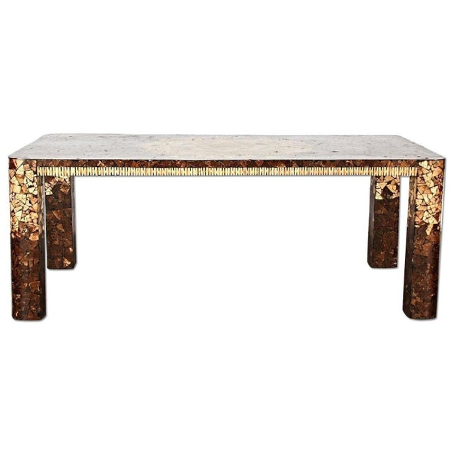 Create a grand style statement with this modern inlaid dining table that is in a class of its own, and you will love the...