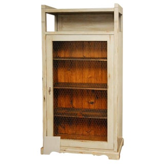 Tall Cabinet with Wire Mesh in Door For Sale