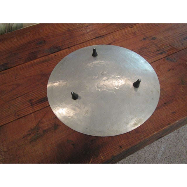 Mid Century Modern Hammered Aluminum Platter on Legs - Image 7 of 9