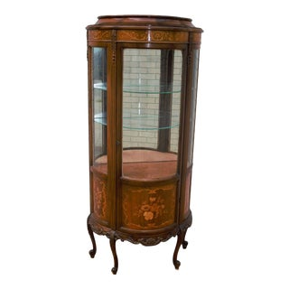 Antique French Louis XV Inlaid Demilune Curio Vitrine Display Cabinet Case For Sale