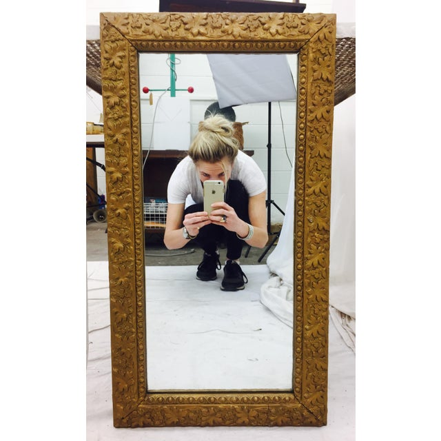 Antique Italian style gold painted finish / giltwood over gesso mirror. Beautiful gilded wood and gessoed frame is...