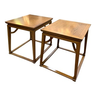 1960s Michael Taylor for Baker Mid-Century Modern Solid Oak Side Tables - a Pair For Sale