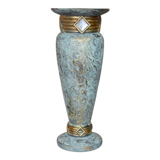 Art Deco Jaru Green and Gold Cast Stone Ceramic Vase For Sale