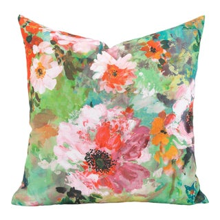 "Floral Garden 20"" Square Pillow Cover For Sale"