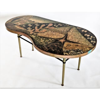 1957 Mid-Century Modern Inlaid Copper, Resin, Shell and Stone Coffee Table Preview