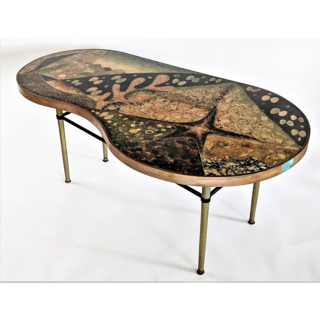 """Custom designed studio made in 1957 table is one of two (the second is 17"""" tall) we are offering for sale. Amazing colors..."""