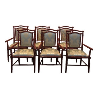 1990s Vintage Faux Bamboo Dining Chairs - Set of 6 For Sale
