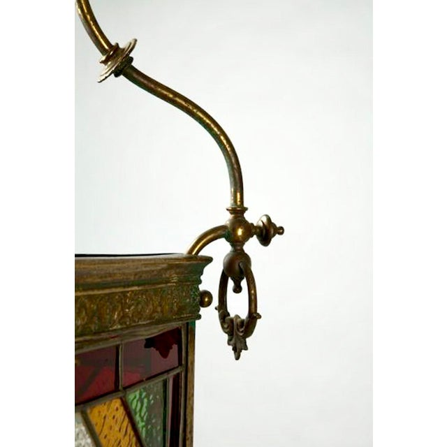 Victorian Brass and Stained Leaded Glass Hanging Hall Lantern c.1890 For Sale In Detroit - Image 6 of 6