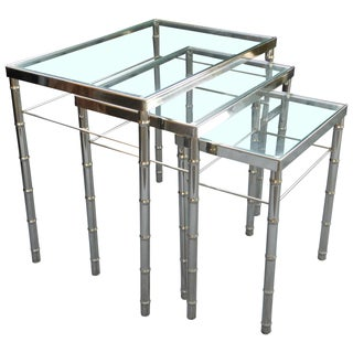 Vintage Faux Bamboo Chrome Nesting Tables - S/3 For Sale