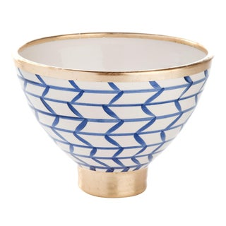 Contempo Collection Decorative Geometic Ceramic Footed Bowl For Sale