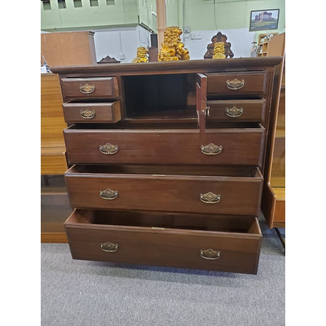 Wood 19th Century Antique Mahogany Chest Of Drawers For Sale - Image 7 of 12