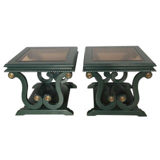 Harp Shaped Lacquer Side Tables - A Pair