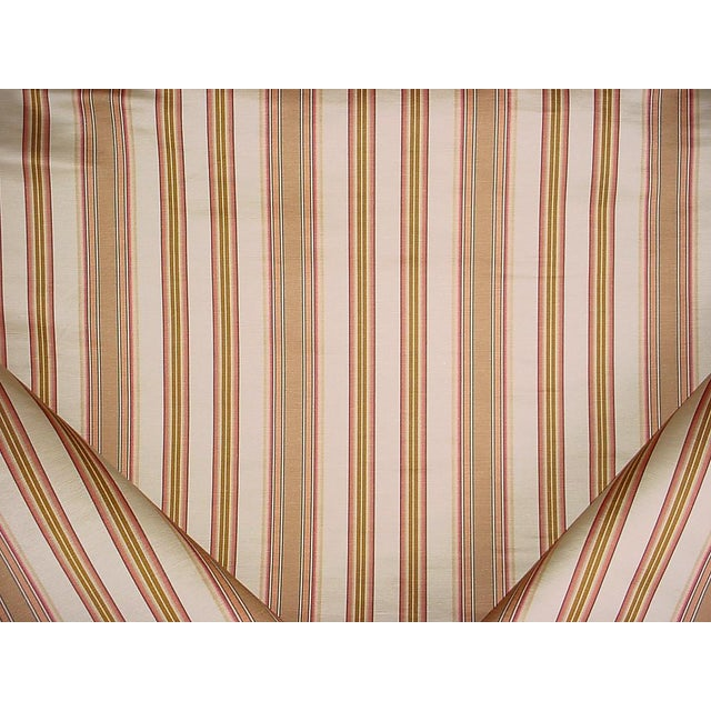 Traditional Lee Jofa Margaux Stripe Camel / Petal Silk Linen Upholstery Fabric - 9y For Sale