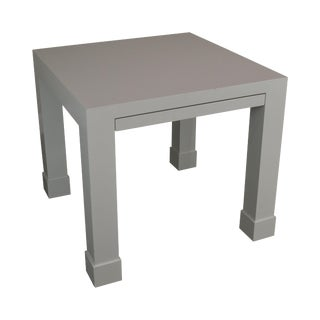 White Lacquer Mid Century Square Parsons Game Table For Sale