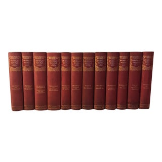 Antique Red & Gold Decorative Books - Set of 12