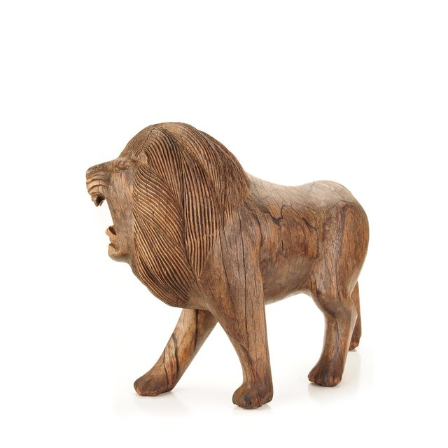 "Roaring Lion Antiques 23"" Carved Wood Sculpture - Image 4 of 9"